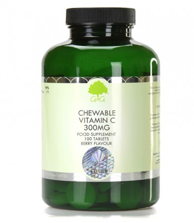 Vitamin C 300 mg z okusom češnje in maline, 100 žvečljivih tablet