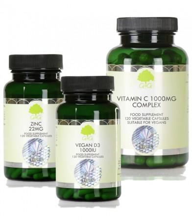 Paket treh dopolnil D3 1000iu, C 1000 mg in Cink