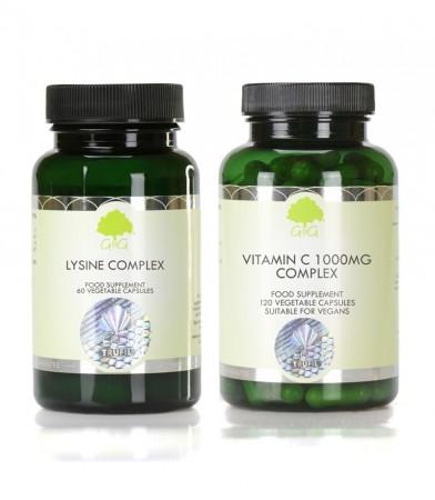 Paket dveh dopolnil L-Lizin kompleks in C 1000 mg